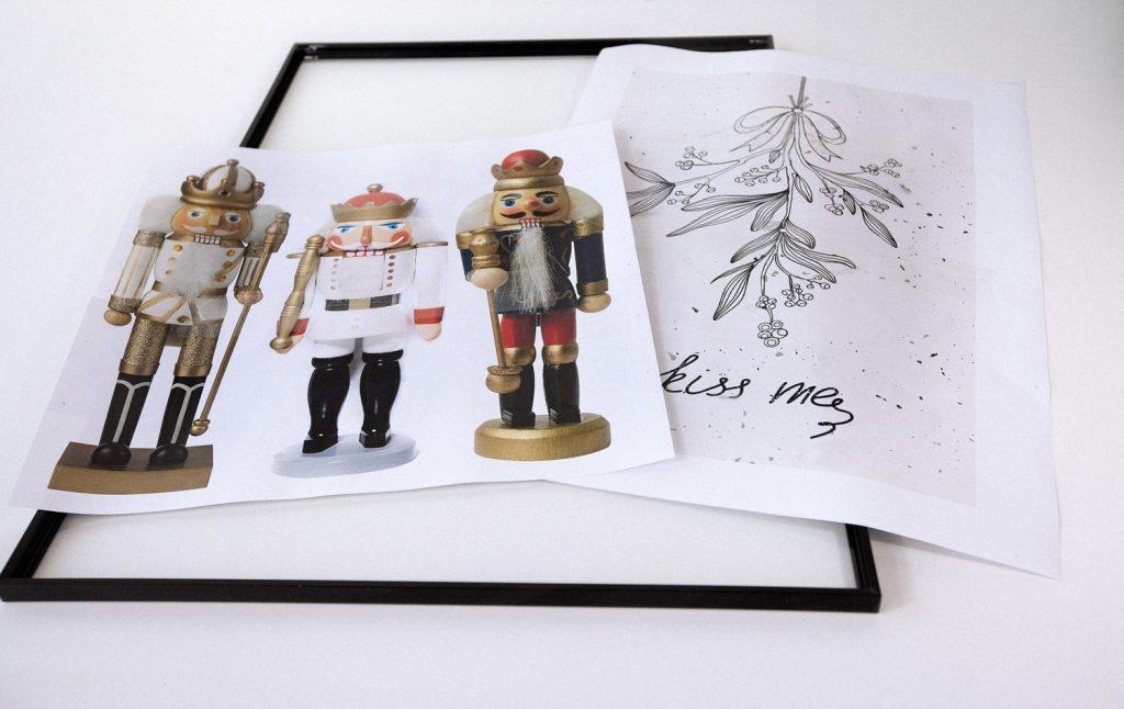 Weihnachtsdeko Weiss Auf Schwarz Bilderrahmen