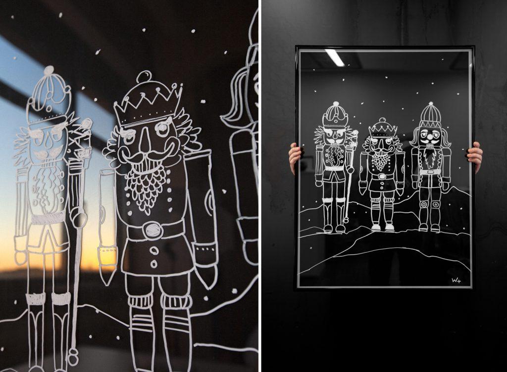 Weihnachtsdeko weiß auf Schwarz – BILDERRAHMEN